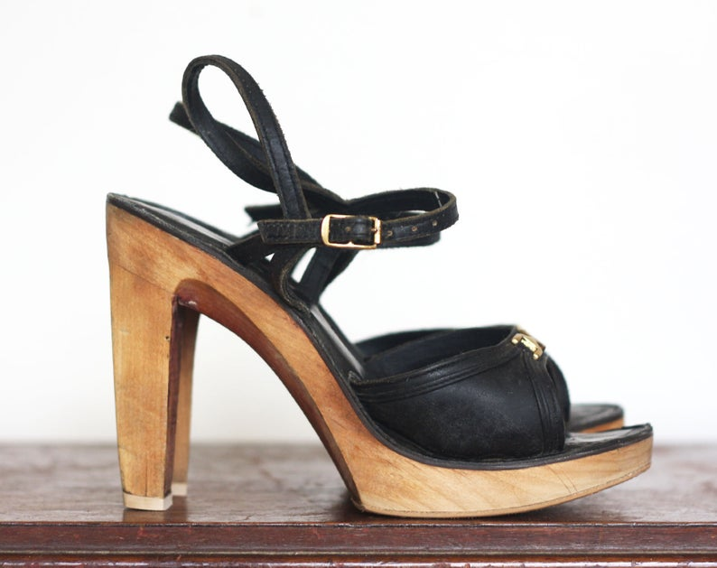 SKY HIGH Vintage 1970s Leather and Wood