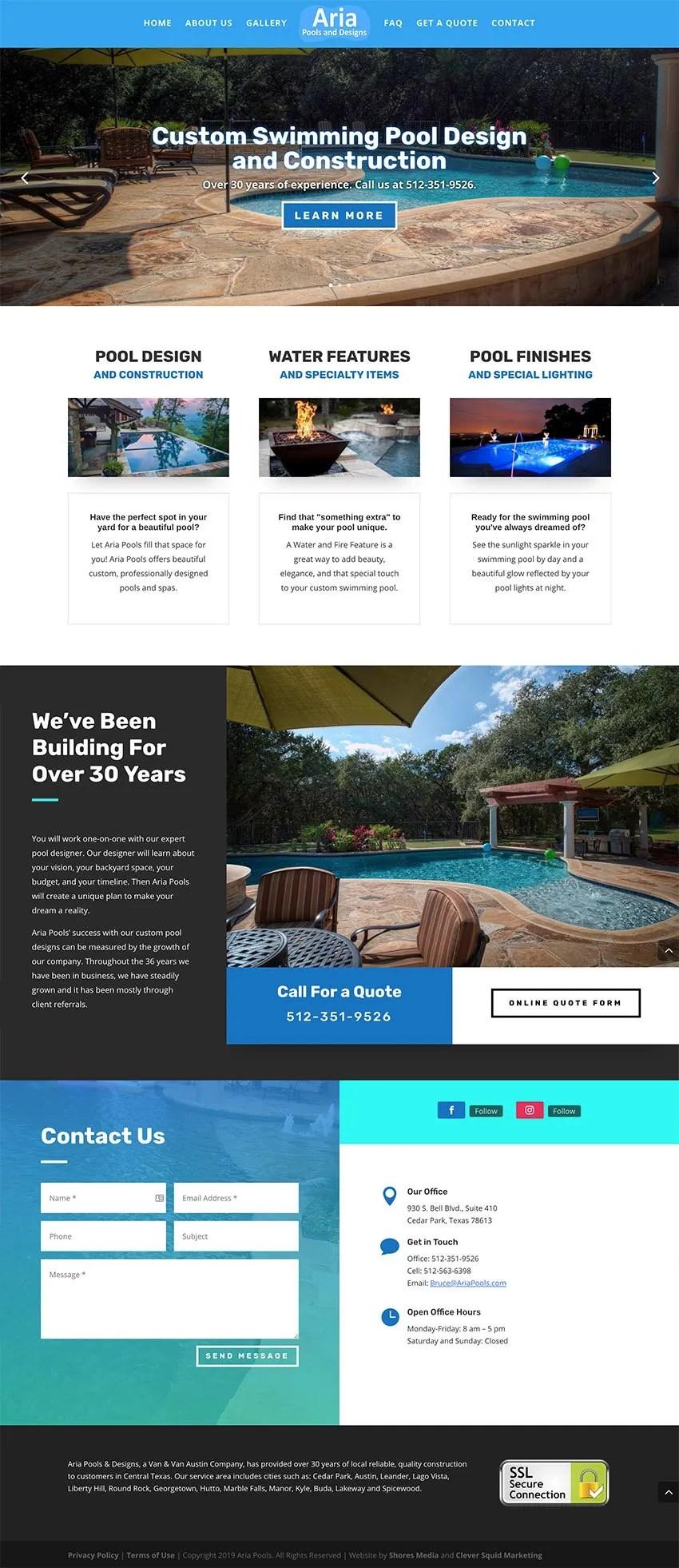 Aria Pools Austin Web Design