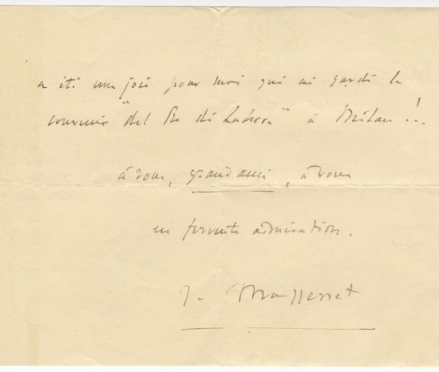 Autograph Letter Signed J Massenet Mostly Probably To The Tenor Francesco Tamagno Dated August 17 1902 Jules Massenet