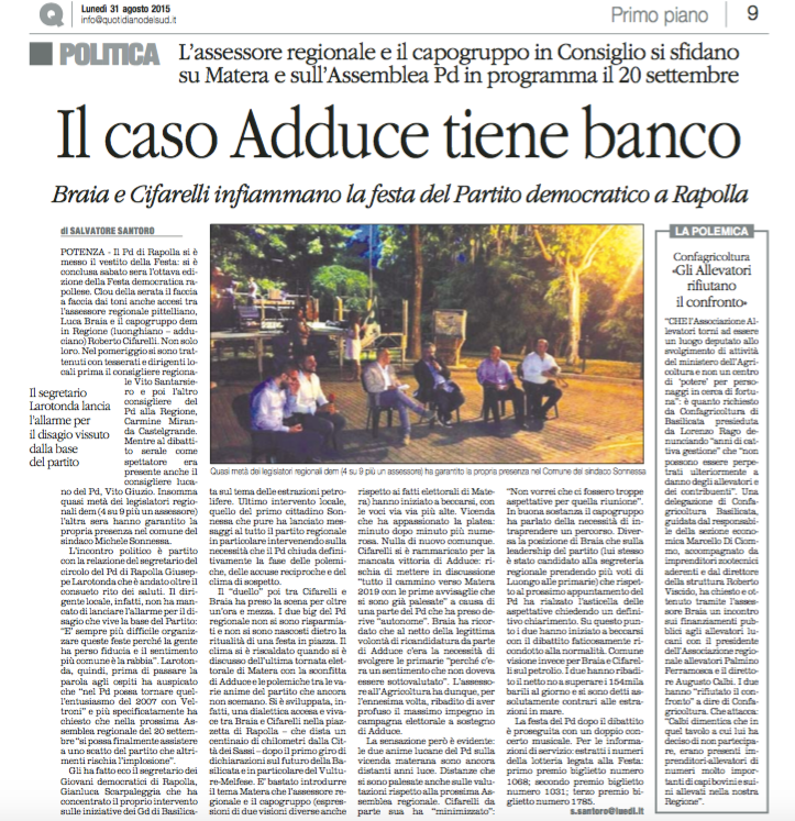 PD e ALLEVATORI Quotidiano 31 agosto 2015