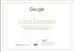 Attestato d partecipazione al corso di formazione di Google conseguito da Luca Ercolani