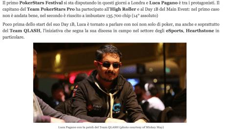 """Luca Pagano: """"Il Team QLASH avrà una Grindhouse. eSports? L'Italia deve cambiare"""" – Assopoker, 2017"""