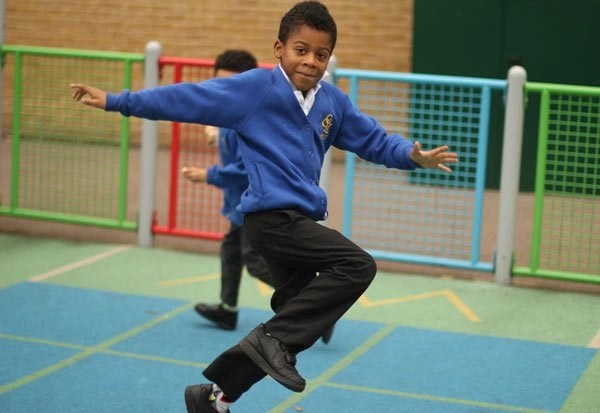 Running and jumping during a PE lesson