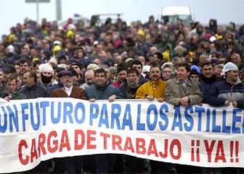 Manifestación de los trabajadores de Astilleros