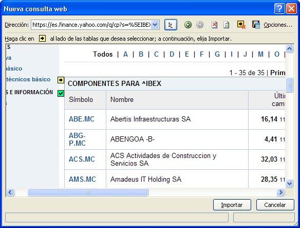 Importar datos de la Web en Excel