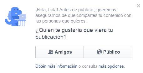 Primera publicación en un perfil de Facebook