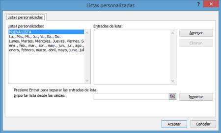 Listas personalizadas en Excel