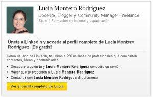 Perfil en LinkedIn de Lucía Montero Rodríguez