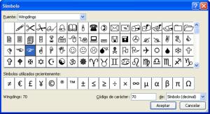 Simbolos para listas con viñetas en Word