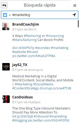 Resultados generales al buscar marketing en Twitter