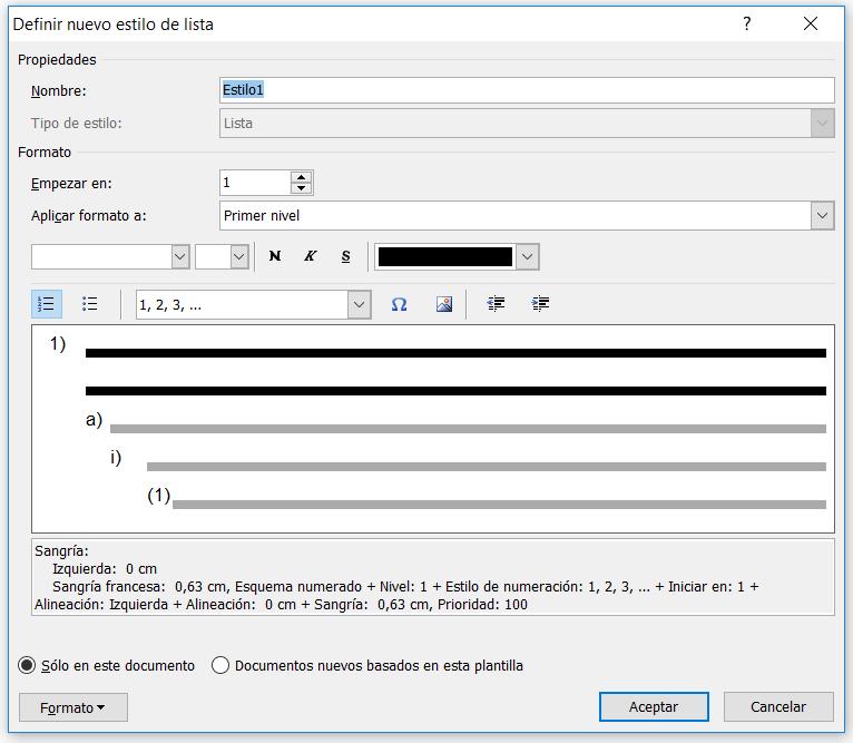 Definir nuevo estilo de lista multinivel en Word