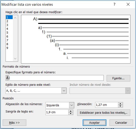 Modificar lista con varios niveles en Word