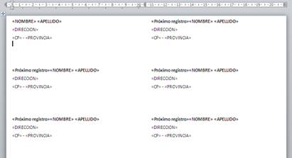 Etiquetas actualizadas con Insertar campo combinado