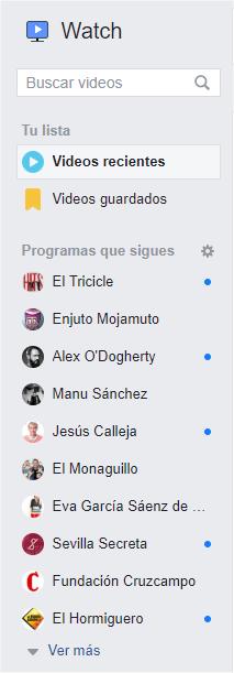 Más opciones de Facebook Watch