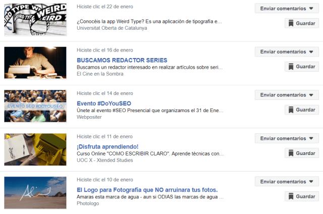 Actividad publicitaria reciente en Facebook