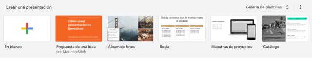 Propuestas de Google Slides para crear una presentación