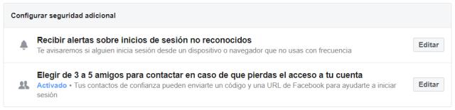 Configurar seguridad adicional en Facebook