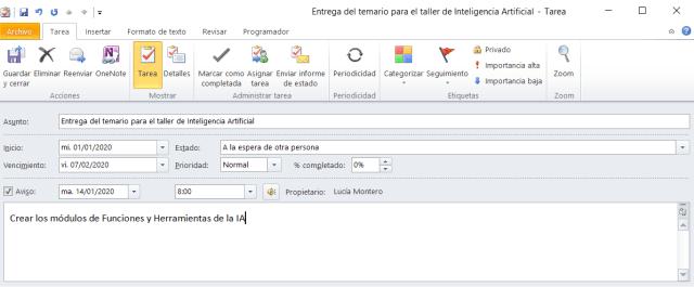 Cuadro para definición de tareas en Outlook