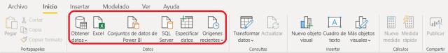 Botones para agregar una fuente de datos en Microsoft Power BI