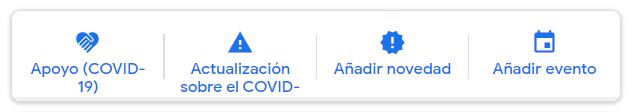 Botones en el área de Publicaciones de Google My Business