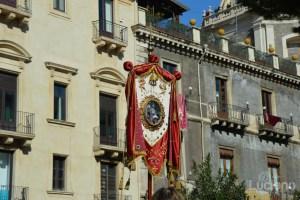 dettaglio stendardo, durante i festeggiamenti per Sant'Agata 2019 - Catania (CT)