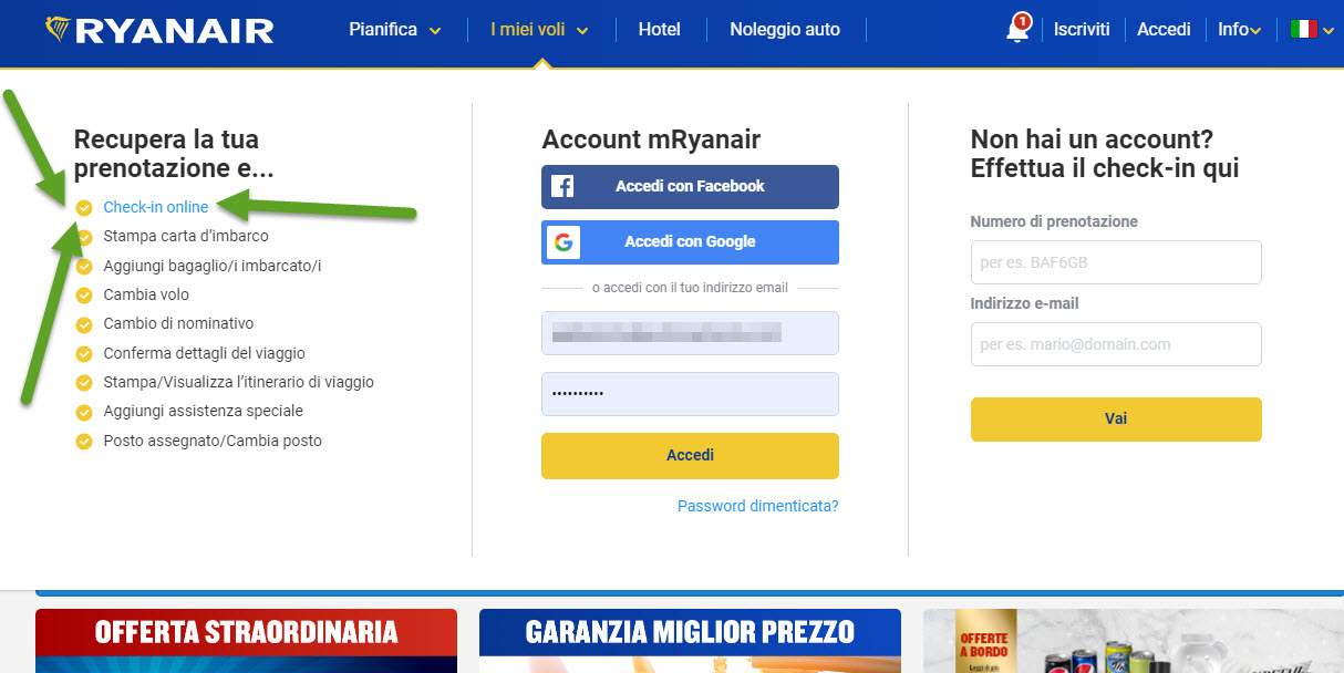 Home page di Ryanair; dove trovare il check-in on line - header home page