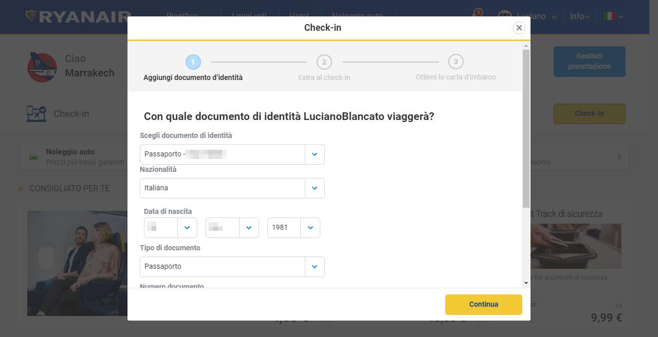 Home page di Ryanair; check-in si parte la con i dati del passeggero e quindi del documento di riconoscimento