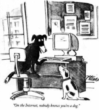 Peter Steiner_comics stripe_on the internet, nobody knows you'are a dog