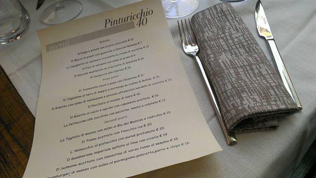 Pinturicchio 40, menu