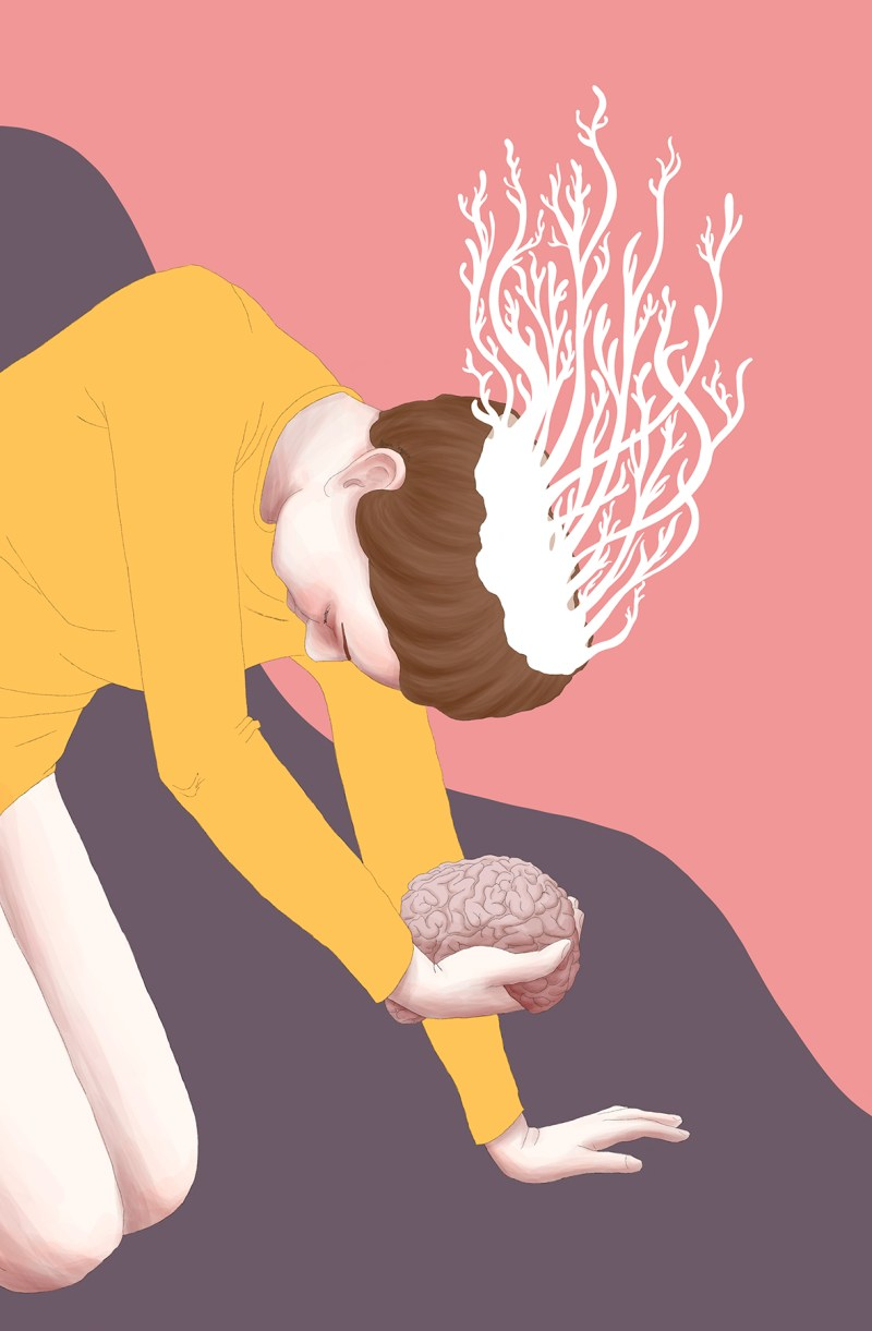 Colorful illustration of a woman with her brain on the hand and some white plants growing from her head. The background is pink and purple. This drawing talks about a vital offering of your most important asset in order to grow as a person.