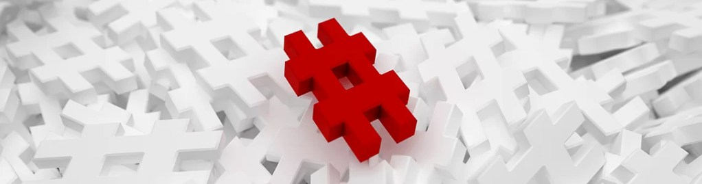 red hashtag