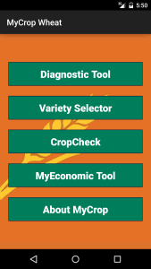MyCrop Wheat main interface screen