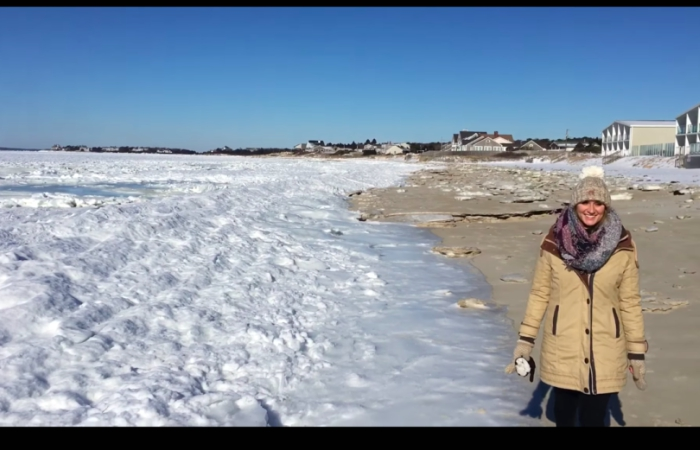 Se congeló parte del mar en Massachusetts
