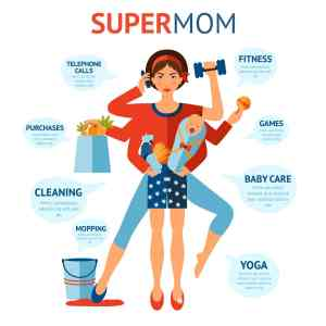 Multitasking super mom concept with woman holding baby and housework objects in hands
