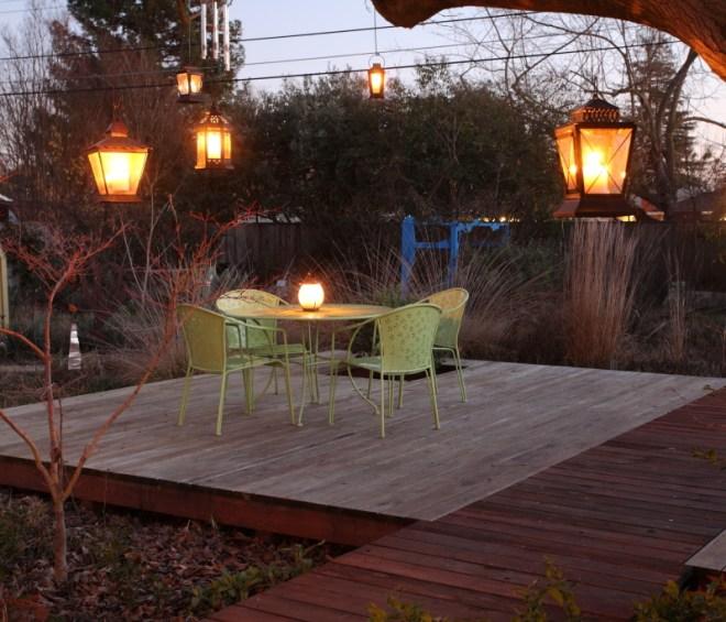 hanging lanterns over deck