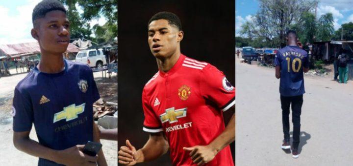 Ghanaian football fan who resembles Manchester United attacker Marcus Rashford goes Viral (Photos)