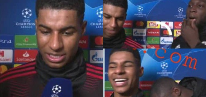 Moment Paul Pogba crashed Lukaku & Rashford interview after Manchester United's epic Champions League Victory against PSG (Video)