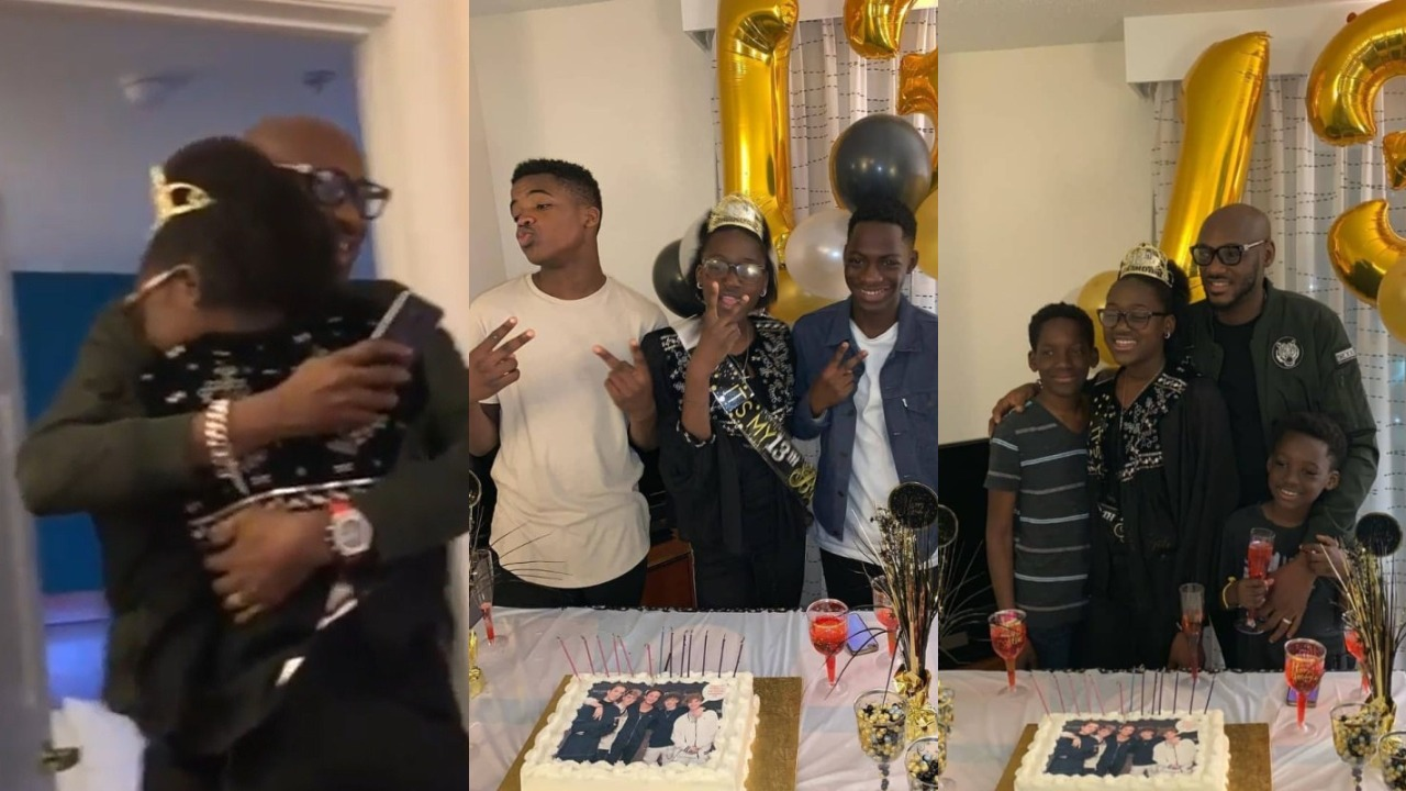 2Face flies to the USA to SURPRISE daughter, Ehi, on her 13th Birthday (Video)