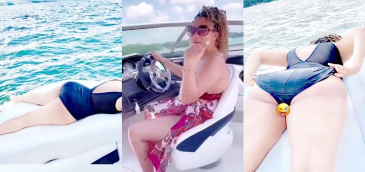 BBNaija's Gifty goes naked as she soaks up the sun on a Ski Boat (Photos)