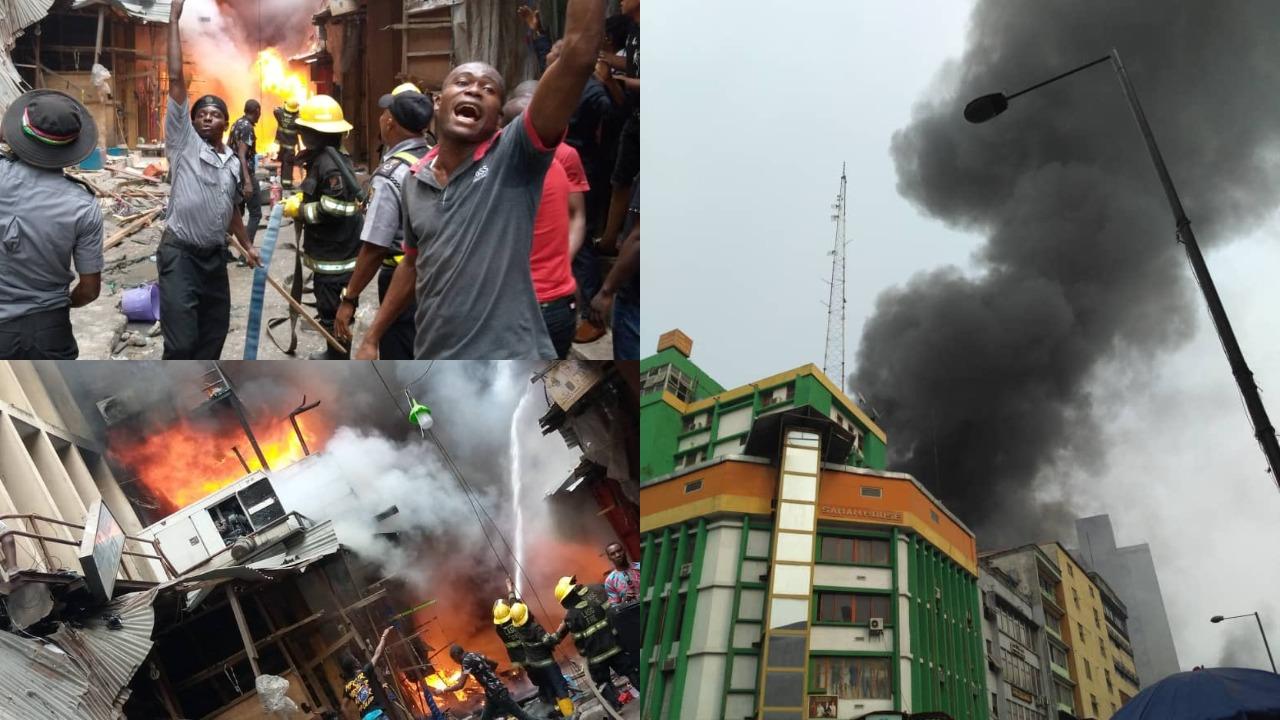 Balogun market in Lagos is on Fire again