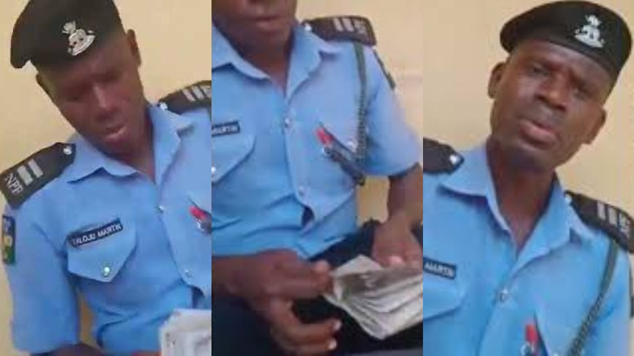 Police officer filmed after he allegedly extorted ₦40,000 from a man who defied the lockdown order so he could get food
