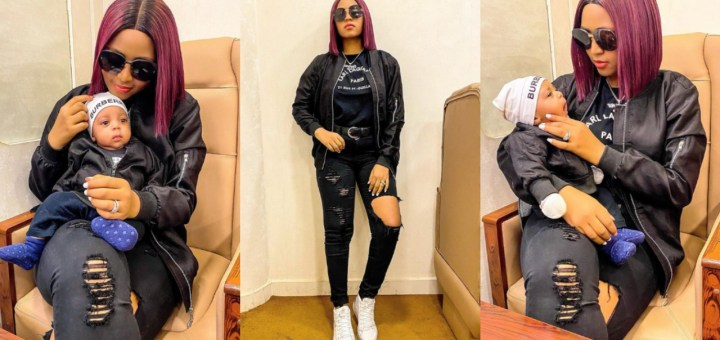 'Twinning with my son already' - Regina Daniels writes as she shares adorable photos of herself & her son, Munir Ned Nwoko, Media users react