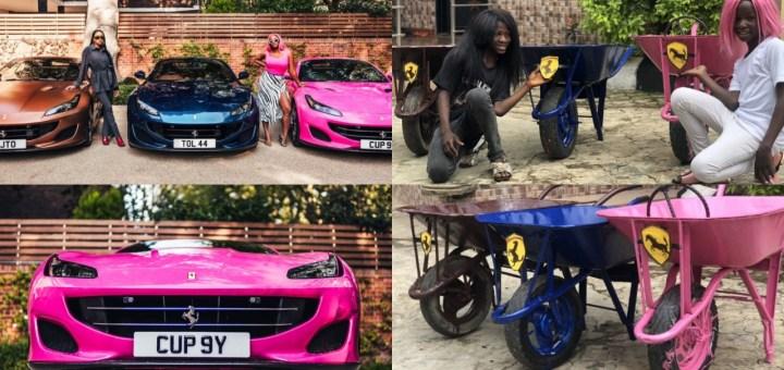 Hilarious! Ikorodu Boiz recreate photos of DJ Cuppy and her sister receiving #Ferraris from their father, Femi Otedola