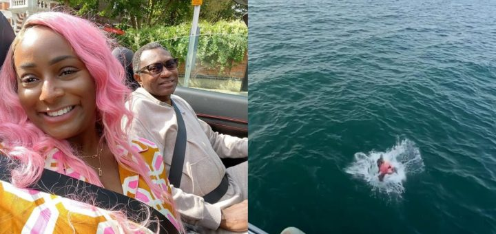 Femi Otedola In Shock After DJ Cuppy Jumped Into An Ocean (Video)