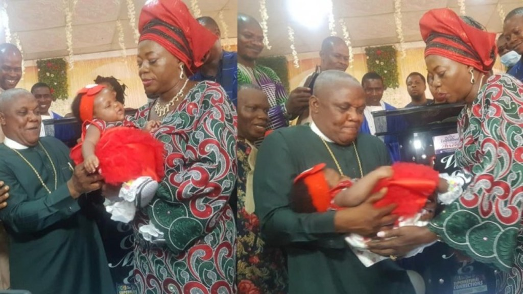 Nigerian pastor & his wife welcome their first child after 25 years of marriage