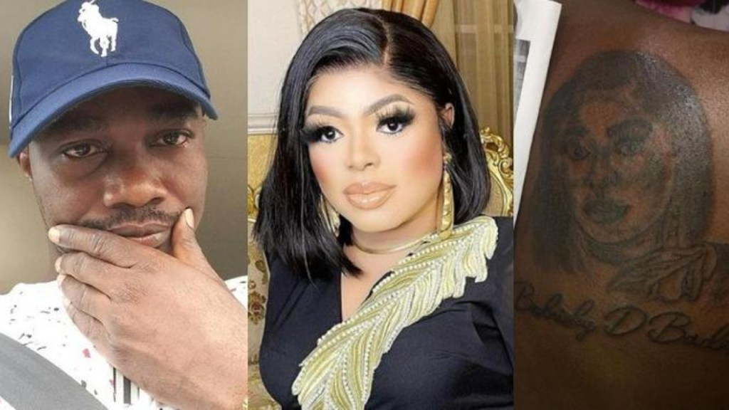 Bobrisky reacts after a man drew a tattoo of his face on his back (Photo)