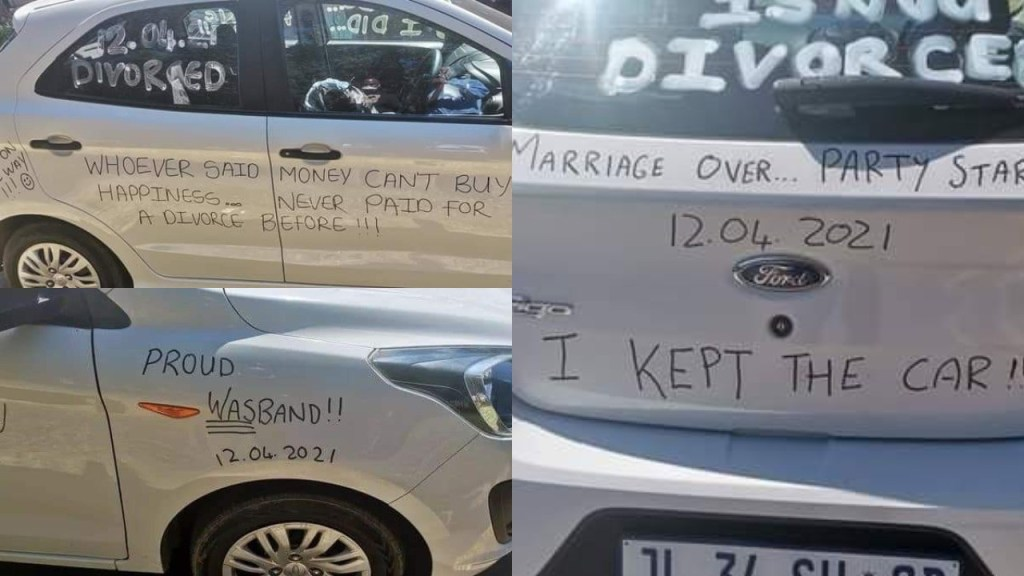 """""""Marriage over party started"""" - Man defaces his car as he joyfully announces his divorce"""