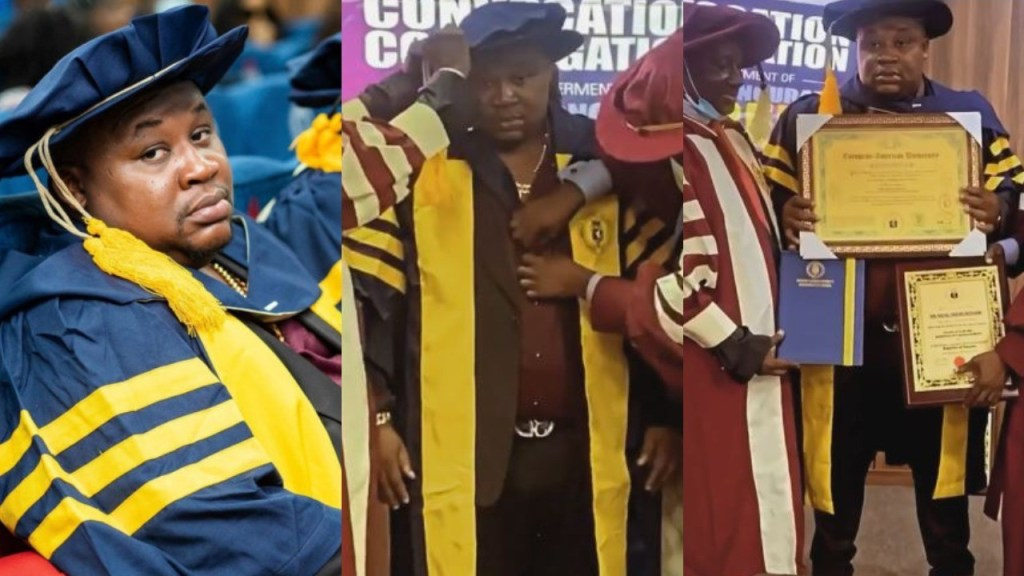 Celebrity barman Cubana Chief Priest bags doctorate degree from European American University (Photos)