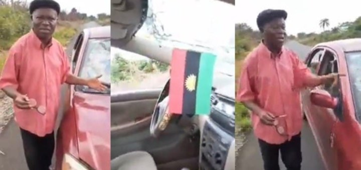 Soldiers smash lawyer's windscreen for having Biafran flag in his car (Video)