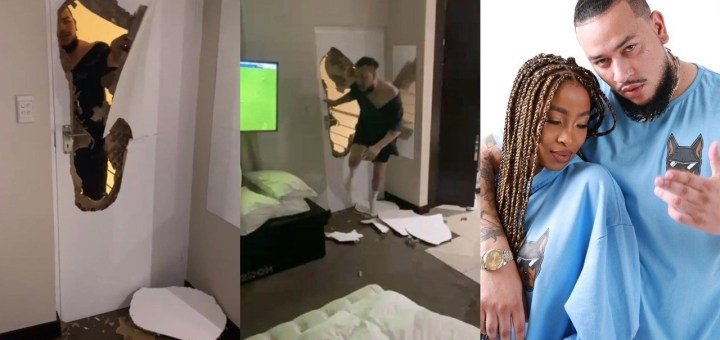 """Photos of Rapper AKA violently breaking down a bedroom door where his late fiancée, Nelli Tembe was hiding"""" during an alleged fight surfaces"""